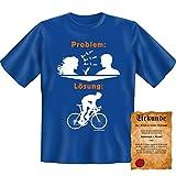 T-Shirt Problem Lösung Fahrrad Rad Fun Shirt Geburtstag-Geschenk geil bedruckt mit Spassvogel Urkunde