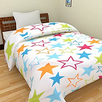 JaipurCrafts Polycotton Single Bed Star Print Reversible Blanket - 54x84-inches, Multicolour
