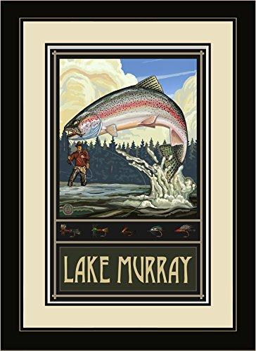 Northwest Art Mall rtff Lake Murray South Carolina Rainbow Trout Fly Fisherman gerahmtes Wandbild Art von Künstler Paul A. lanquist, 40,6x 55,9cm