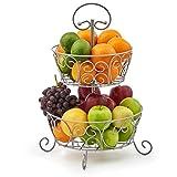 EZOWare Frutero de 2 Pisos Redondo, Organizador de Encimeras Metal Decorativo para Frutas, Verduras, Bocadillos, Artículos para el Hogar - Plata