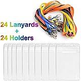 iLoveCos ID Badge Porte-cartes Badge avec des étiquettes colorées Lanière Long pour les Affaires, des Bureaux et des Expositions, (Jeu de 24)