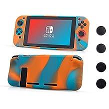 CHIN FAI voor Nintendo Switch-hoes, antislip siliconen beschermhoes met 4-delige duimstokgrepen, schokabsorptie en antikrasontwerp voor Nintendo Switch (Oranje-Blauw)