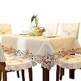 Damast textil creme gelb tischdecke aufwändig bestickt mit filigranem blume Eckig 130cm x 130cm