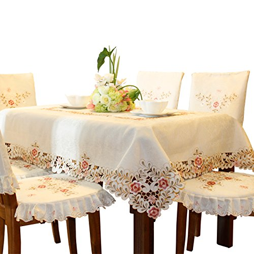 Mantel blanco damasco bordado flores color rosa, beige