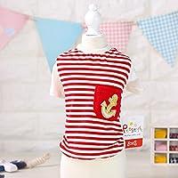 YQYQYQ Camisa De Rayas Bottoming Pet Teddy Dog Clothes Ropa De Verano Cat Small Slim Dog English Short, Rojo, Xl