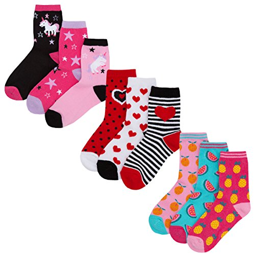 Girls Novelty Cotton Rich Crew Socks (9 & 18 Pair Multipack) Unicorn Floral Hearts Character