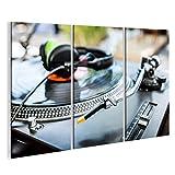 Bild Bilder auf Leinwand DJ-Mixer und Vinyl-Player mit Kopfhörern im Club Wandbild, Poster, Leinwandbild LZY