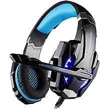 VersionTech Auriculares Gaming Estéreo para PS4 Nuevo Xbox One  juegos con Micrófono Bass Over-Ear Gaming Headset  Profesional con 3.5mm Jack Luz LED Bajo Ruido Compatible con PS4 PC Ordenador Portátil y Smartphone (Azul)