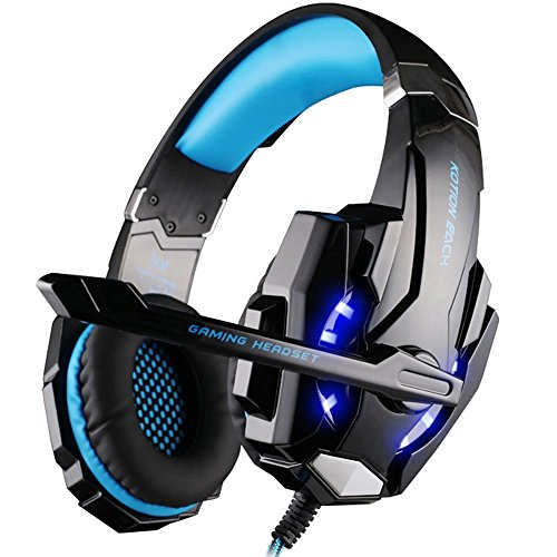VersionTECH. Auriculares Gaming Estéreo Con Micrófono Gaming Headset Profesional Bass Over-Ear Con 3.5mm Jack,Luz LED,Bajo Ruido Compatible Para PC/Ordenador Portátil /Smartphone/PS4/Nueva Xbox One(Azul)