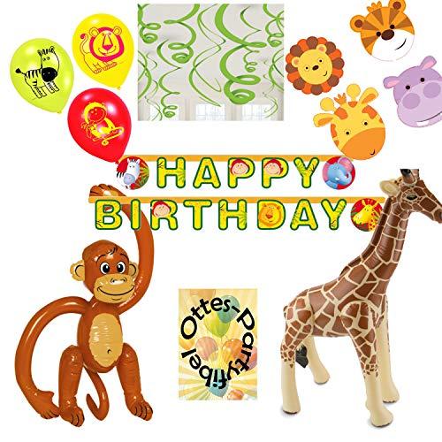Diverse Dschungel-Safari-Party-Set große aufblasbare Tiere AFFE Giraffe Masken Girlande Spiralen Luftballons (Dschungel Tiere Aufblasbare)