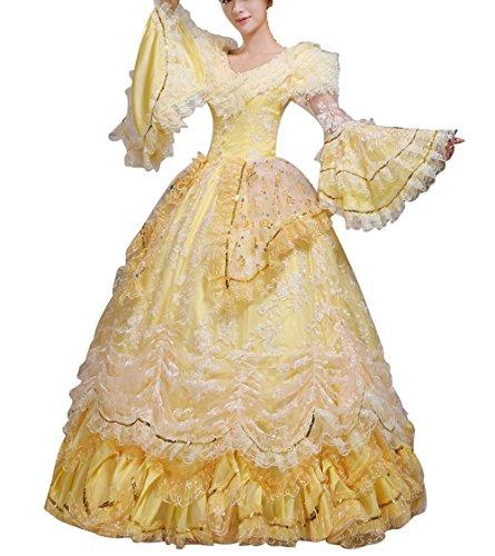 Nuoqi Damen Viktorianisch Kleid Palace Mittelalterliche Kleider Cosplay Kostüm Satin Gotisch Maskerade Kleidung (42, (Kleid Antoinette Marie Kostüm)