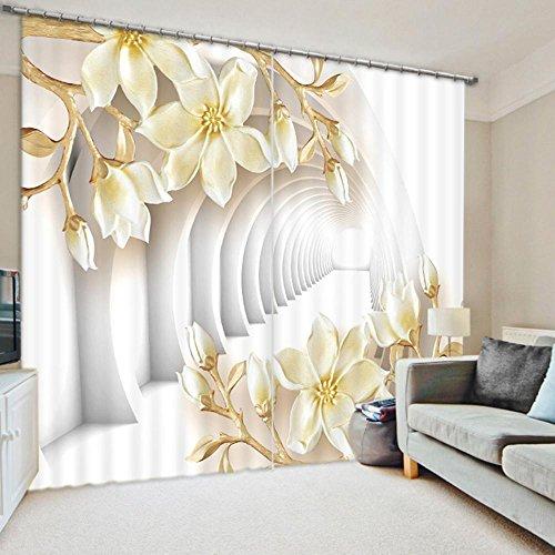 LINAG 3D Cortinas Ventana Sala Estar Decoración Ventana Blackout 2 Panel Impresión Digital Alivio Flores Hogar Paño Sombreado Poliéster, A, 300 * 270cm