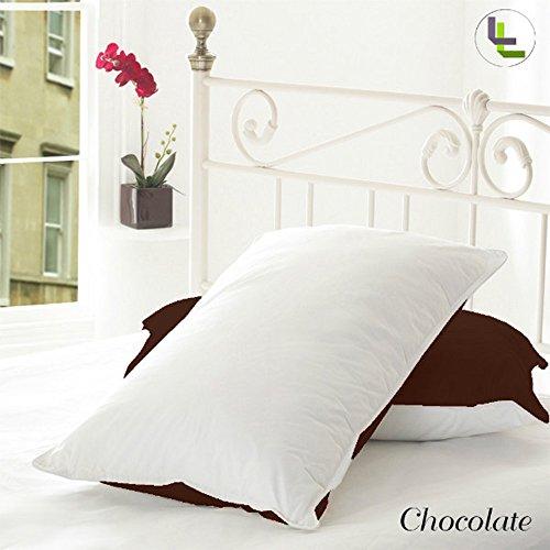 600tc 100% ägyptische Baumwolle elegant Finish 2Wende Paar Kopfkissenbezug massiv, baumwolle, Chocolate Solid, UK_Double