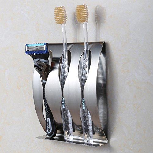 Moderner Zahnbürstenhalter (Edelstahl Wand Zahnbürstenhalter, moderner Wand Zahnbürste Halter, Einzigartige hohlen Design Rasierer Rack/Zahnpasta Rack, rostfrei Zahnbürste Organizer, hochwertige Badezimmer Zubehör (3Löcher))
