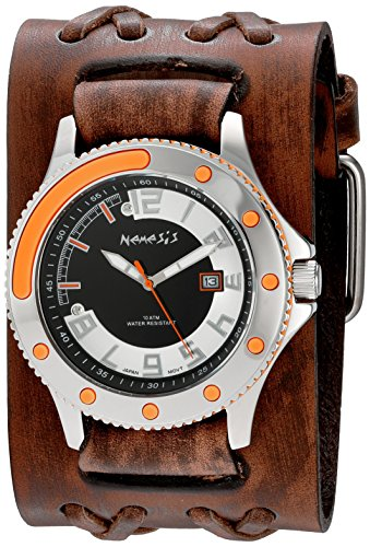 Nemesis Men's 'Sporty Series' Quartz Stainless Steel and Leather Automatic Watch, Color:Brown (Model: BVDXB105N)