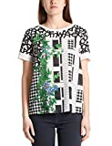 Marc Cain Collections Damen MC 55.16 J10 T-Shirt, Mehrfarbig (White and Black 190), 38 (Herstellergröße: 3)