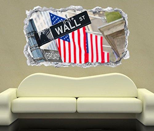3D Wandtattoo Wall Street USA Flagge New York Wand Aufkleber Durchbruch Stein selbstklebend Wandbild Wandsticker 11N778, Wandbild Größe F:ca. 97cmx57cm (Usa Aufkleber Wandtattoo)