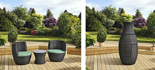 fineway brand new verona 3 pc rattan garden patio furniture vase set