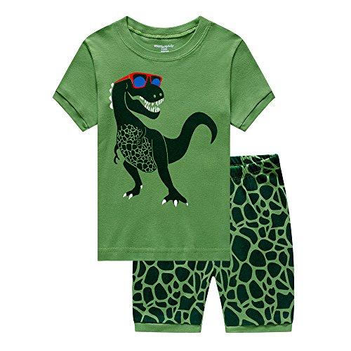 Tarkis Jungen Schlafanzug Kurzarm Dinosaurier Tier Nachtwäsche Sleepwear 92 98 104 110 116 122 (03-Grün, 98 (Herstellergröße: 100))