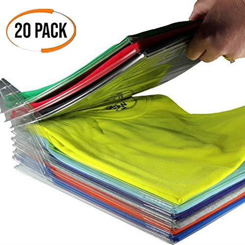 NIFOGO Kleiderschrank Organizer, Kleidung Organisieren Klappbrett, Lazy Klappbrett, Faltbrett, T-Shirt Kleidung Ordner, Sparen Sie Raum Falten Prävention (20 Pack) (Kleider Schrank Organizer)
