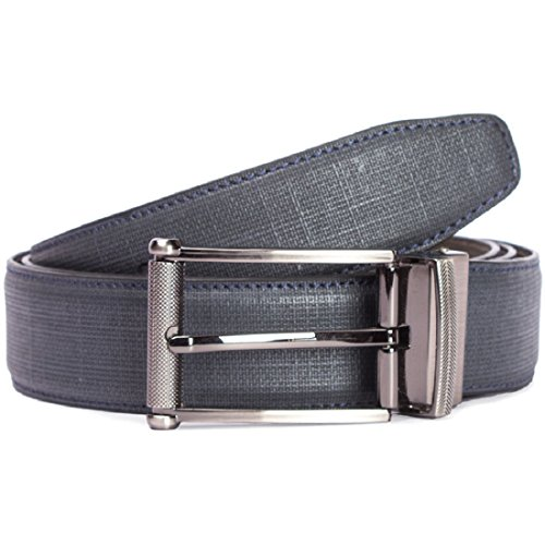 Risa Men's Navy Checkered Leather Belt