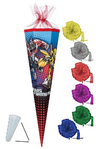 Unbekannt Schultüte - Transformers Prime 22 cm - incl. Schleife - mit / ohne Kunststoff Spitze - Tüllabschluß - Zuckertüte Nestler - für Jungen Transformer Optimus Bumb..