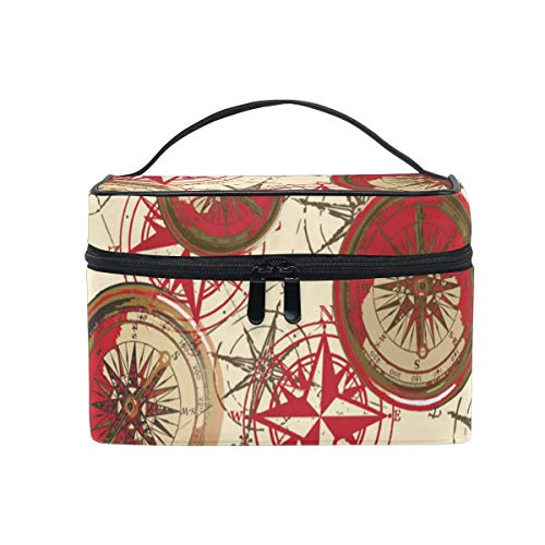 Kosmetiktasche, Make-up Tasche, Makeup Bag Red Geometric Compass Portable Large Cosmetic Toiletry Brush Bag Travel Train Case Organizer Box Pouch for Girls Women