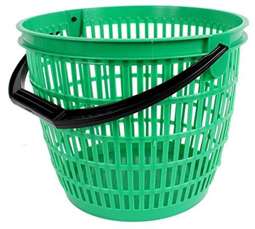 Centi Gartenkorb Erntekorb Kunststoff Grün mit schwarzem Henkel 12 Liter