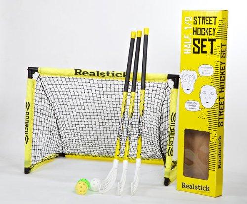 Realstick | Floorball Unihockey Street Hockey Set mit 3 Schlägern, drei Bällen und einem faltbaren Tor