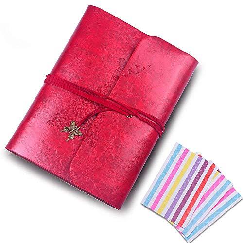 (QC Life Schmetterlings-Fotoalbum, handgefertigt, Ledereinband, 60Seiten, Premium schwarzes Papier, für Jahrestag, personalisierten Valentinstag, Reisen. weinrot)