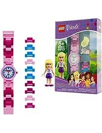 LEGO Friends 8020172 Orologio da polso componibile per bambini con cinturino a maglie e minifigure Stephanie| per i bambini | ragazzo/ragazza | rosa/blu | Diametro di 28 cm | Quarzo analogico