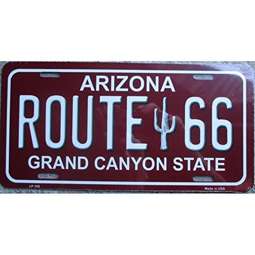 inconnu - plaque d immatriculation route 66 arizona rouge tole deco us