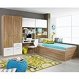 Kinderzimmer 4-teilig grau / weiß B 281 cm inkl Kleiderschrank + Kinderbett + Schreibtisch + Regal Jugendzimmer