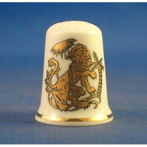 Porcelana China Coleccionable de dedal oro signos del zodiaco–-Leo el león