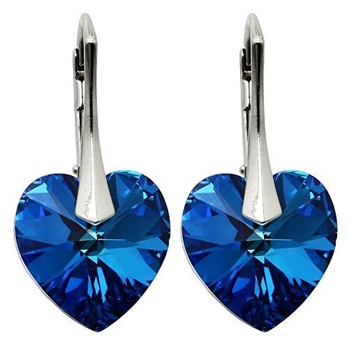 Ohrringe mit Kristallen von Swarovski in geprüfter Qualität m3crystal Ohrringe Silber 925 Stein Bermuda Blue Herz 14mm Ohrringe Nickelfrei Damen, Schmuck für Damen Modeschmuck