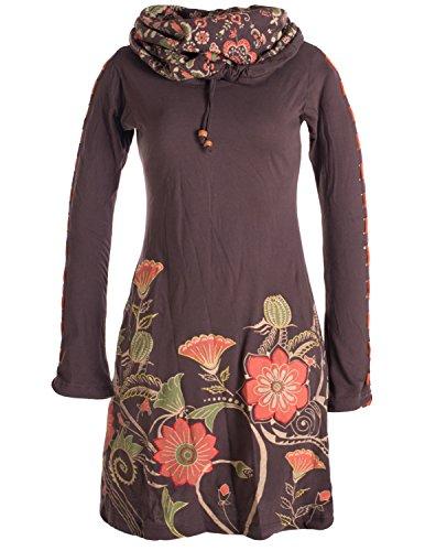 Vishes - Alternative Bekleidung - Langärmliges Blumenkleid aus Baumwolle mit Kapuzenschalkragen braun 34