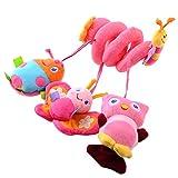 SOLEDI Spirale d'activités de Lit bébé Papillon Coccinelle Jouets Poussettes pour Dormir siège bébé voiture Cadeaux Soft Baby Hanging Play Mobile Cot Pram Bed Toy Activity-Spirale Stripes & Dots