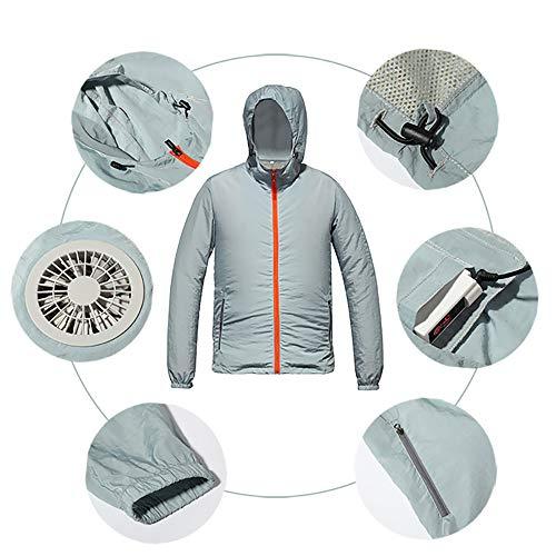 APENCHREN Men's Cooling Fan Jacke/Klimaanlage Kleidung, Arbeitskleidung - für Arbeiten im Freien bei hohen Temperaturen Sommer Angeln Reisen Camping und Fahrrad,XXXL Jacken Fan