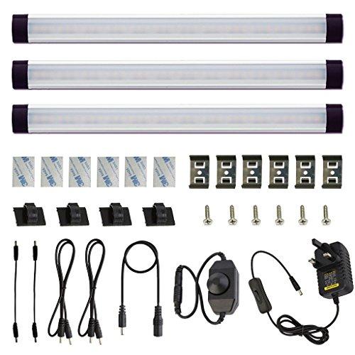 Küche-schränke-bar (aiboo unter Schrank LED Puck Lichter Kit starr Bar mit Zifferblatt Dimmer Schalter für Küche Schrank Schrank Beleuchtung, 2700k Warmwhite, 3 Lights)