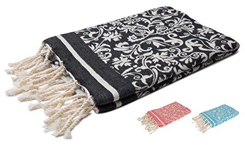 Zusenzomer telo mare fouta fiore 100x190 nero - telo mare cotone leggero e lussuoso - teli mare hammam disegno exclusivo
