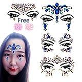 Paquete de 4 juegos de piedras preciosas para la cara con 2 tarros de purpurina para el cuerpo, para festivales