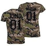 CrazyShirt T-Shirt-Set King oder Queen Partner-Shirts Camo Schwarz - Aufdruck Hinten Damen XXL + Herren S