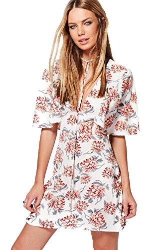 Weiß Damen Rudy Elegantes Sommerkleid Mit Blumen-print Und Vorderseitigem Cape Weiß