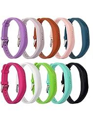 dshs Flex 22bandas accesorio para Fitbit Flex/Fitbit Flex2, con cromo claspOr suave correa de silicona pulsera Fitness, muñeca banda ajustable Repalcement, 10colour
