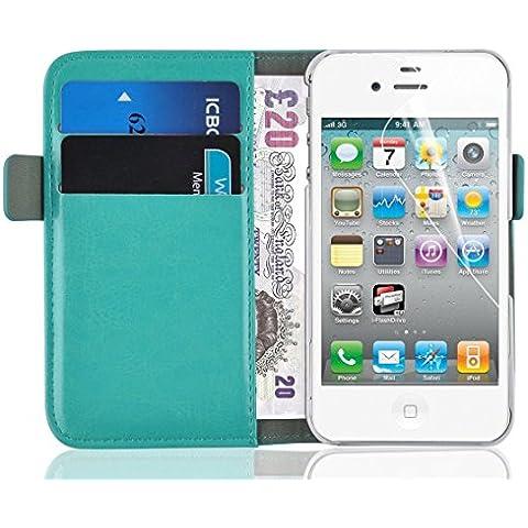 [ iPhone 4 y 4S Cover ] - Funda Jammylizard De Piel Tipo Cartera Luxury Wallet Case, ESMERALDA