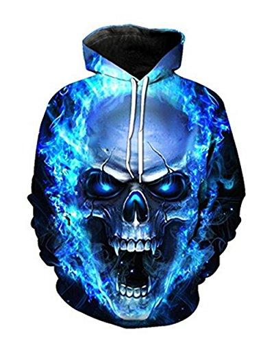 Herren 3D Druck Hoodie, SummerRio Kapuzenpullover Sweatshirt 3D Aufdruck Unsiex Wolf/Schädel Langarm mit Kapuze Tasche, Mehrfarbig (Typ2 Schädel), Gr. XL