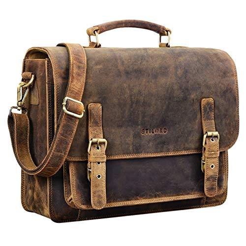 STILORD \'James\' Leder Business Aktentasche für Herren Damen Vintage Umhängetasche mit 14 Zoll Laptop Fach große Ledertasche für Lehrer Büro und Arbeit, Farbe:mittel - braun