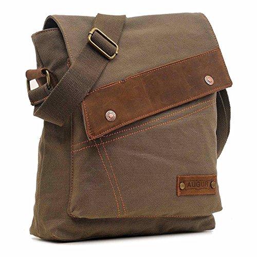 VRIKOO Unisex Vintage Segeltuch Leder Umhängetaschen Messenger Bag Lässige Travel Schultertasche Crossbody Taschen (Kaffee) Armee-Grün