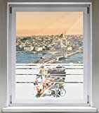 INDIGOS UG Sichtschutzfolie Glasdekorfolie Fensterfolie mit Motiv satiniert Blickdicht - E470 Schönheit am Strand - 1200 mm Länge - 500 mm Höhe Streifen