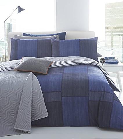 Pieridae Denim Patchwork 100% Cotton Percale Digital Print Duvet Cover & Pillowcase Set Luxury Designer Patch Bedding Quilt Case Double Super King Superking (Double) by Pieridae